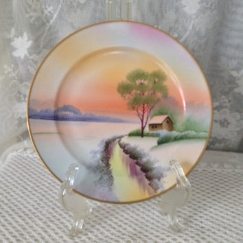Meito China Plate, Hand Painted Winter Stream Scene, Red Sunset on Horizon, Vintage Japan Cabinet Plate, 7 1/2""