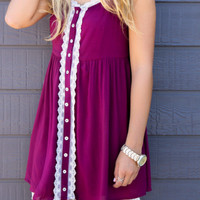 Heaven Sent Berry Sleeveless Babydoll Button Down Dress With Lace Accents