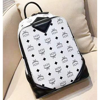 MCM High Quality Fashion New More Letter Print Leisure Backpack Bag Women White