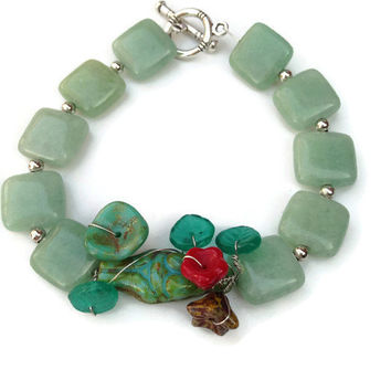 Aventurine Bracelet  Fertility  Bracelet with Czech Goddess Bead and Czech Flower Beads , Handmade