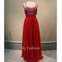 2014 Red Beading Prom Dress/Floor Length Party Dress/Long Grad Dress