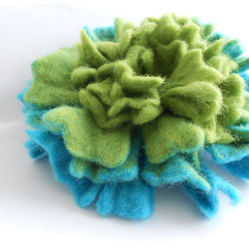 Wool Felt Flower Pin Light Green Blue Ombre - Winter Coat Accessory - Handmade Felted Brooch - Tropical Colors