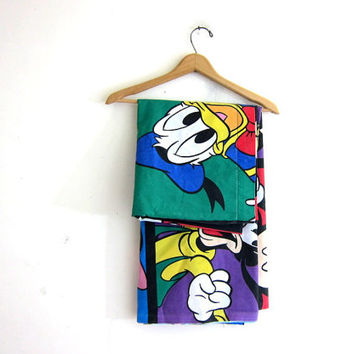 Vintage Disney Mickey Mouse and Gang twin Flat Sheet or Fabric