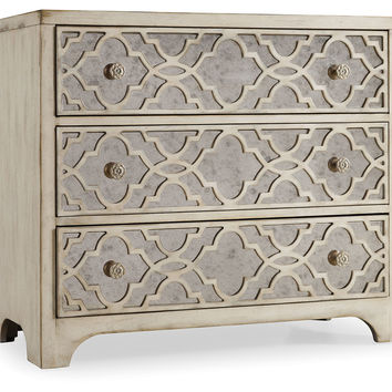 "Hooker Furniture, Fretwork 36"" Mirrored Chest, White, Chest of Drawers"