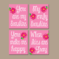 You Are My Sunshine Lilly Rose Wall Art Artwork Hot Pink Nursery Rhyme Quote Flower Baby Song Set of 4 Prints Baby Crib Decor