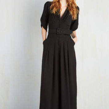 Film Noir Long Short Sleeves Wide Leg The Embolden Age Jumpsuit in Noir