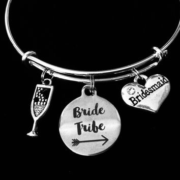 Bride Tribe Jewelry Bridesmaid Expandable Charm Bracelet Adjustable Wire Bangle Wedding Shower Bridal Trendy One Size Fits All Gift Champagne