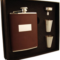 Visol Alcide 6oz Brown Leather Flask Gift Set