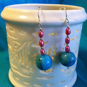 Aqua and Pink Earrings Handmade Crazy Lace Agate and Freshwater Pearl Drop Earrings Beaded Gemstone Jewelry Christmas Winter Gift for Her