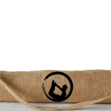 Yoga Bags With Yoga Pose Embroidery -Burlap Yoga Mat Bag -Yoga Totes -Yoga Mat Sling -Custom Yoga Bag -Yoga Accessories -Gift -Gift For Her