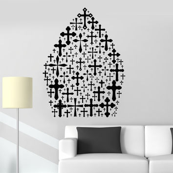 Vinyl Wall Decal Papal Tiara Catholic Cross Prayer Room Stickers Unique Gift (ig4878)