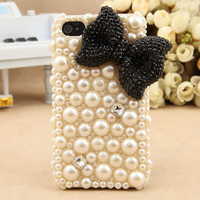 Custom pink BOW pearl case  iPhone 5c  handmade  Pearl bow case  Fashion pearl iphone 5 cases iphone 4 case