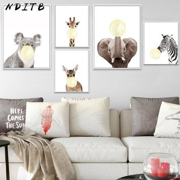 Baby Animal Zebra Giraffe Deer Bubble Wall Art Canvas Painting Nursery Poster Print Decorative Picture Baby Kids Bedroom Decor