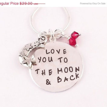 Winter Sale Mom Daughter Necklace Grandmother Necklace Love You To The Moon and Back Birthstone Charm Mother Necklace