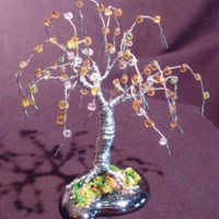 Wire Bonsai Tree Sculpture Beaded Mini Tree - 4x4x4