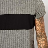 ASOS T-Shirt With Herringbone Jacquard And Chest Insert