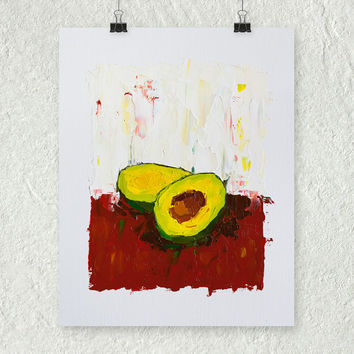 Avocado Painting, Still Life Painting, Modern Art, Fruit Painting, Red and Green, Small Oil Painting, Kitchen Decor, Fruit Oil Painting