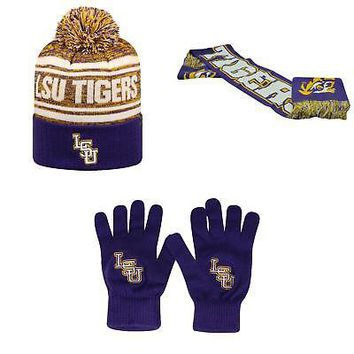 Licensed NCAA LSU Tigers Spirit Scarf TOW Knit Glove And Driven Beanie Hat 3 Pack 16414 KO_19_1