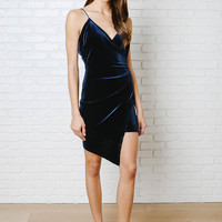 Jewel Asymmetrical Velvet Mini Dress-FINAL SALE