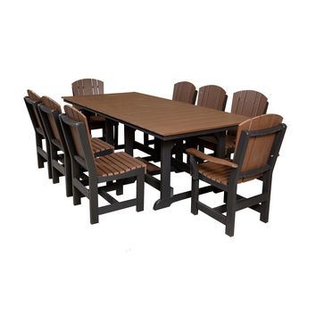 """Wildridge Recycled Plastic Heritage 44""""x94"""" Table with 8 Dining Chairs  - Ships in 10-14 Business Days"""