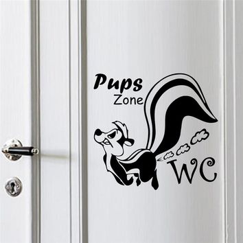 dog's pups zone wall stickers toilet WC restroom decorations animals 362. diy vinyl home decals cartoon mural art posters 5.3