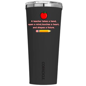 Corkcicle A Teacher Takes a Hand with Apple on Black 24 oz Tumbler Cup