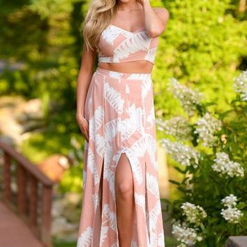 Romantic Getaway Two Piece Set - Peach