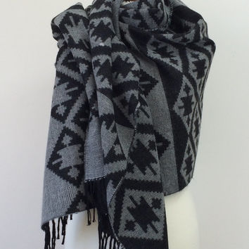 Winter Shawl Scarf Aztec Blanket Scarf Black and Gray Neck Wrap, Tribal Kilim Aztec Blanket Scarf, Unisex Scarf, Designscope