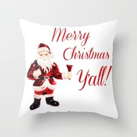 Merry Christmas Y'all Santa Throw Pillow by Beth - Paper Angels Photography