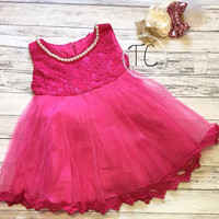 Flower Girl Dress, Lace Flower Girl Dress, Hot Pink Tulle Dress, Hot Pink Lace dress, 1St Birthday Dress, Baby Girls Dress, Girls Lace Dress