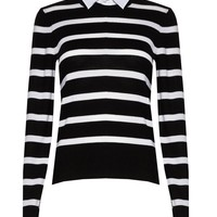 alice + olivia | STRIPED CREWNECK WITH COLLARED SHIRT