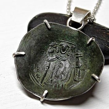 authentic Byzantine Empire coin pendant, ancient coin necklace mens, large mens pendant coin, antique Crusade coin collectors pendant
