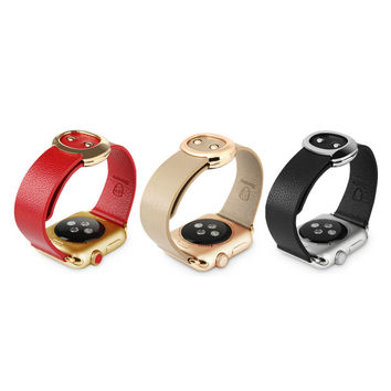 Baseus Unisex Luxury Real Leather Strap For iWatch - Red, Black, Khaki