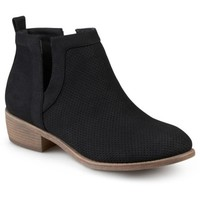 Brinley Co. Womens Faux Suede Cut-out Pinhole Round Toe Boots - Walmart.com