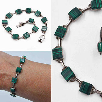 Vintage Taxco Mexico Sterling Silver & Malachite Jewelry Set, Link Bracelet, Pierced Earrings, Green, Married Set, So Nice! #c120
