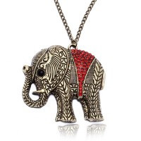 Bronze Alloy Long Necklace Chain Rhinestone Elephant Pendant Fashion Vintage Jewelry - Default