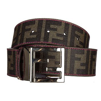 Fendi women's adjustable length reversible belt zucca pink
