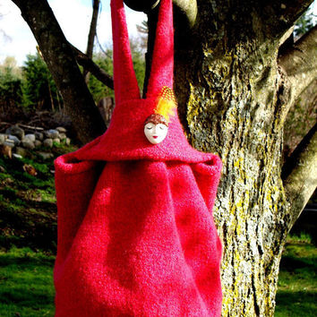 Felt Bag Hand Knit Raspberry Red