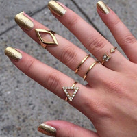 18K Gold Plated Stacking Midi-ring Knuckle Ring Set