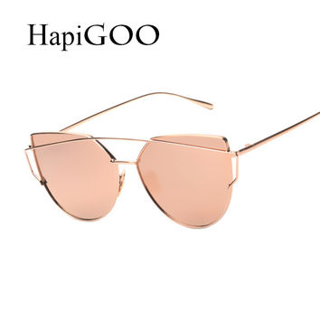 2016 New Fashion Women Cat Eye Sunglasses Ladies Brand Designer Twin-Beam Mirror Sun Glasses Vintage Female Rose Gold Sunglasses