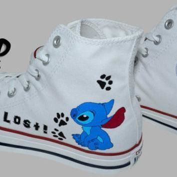 hand painted converse hi stitch from lilo and stitch cartoon i m lost handpainted