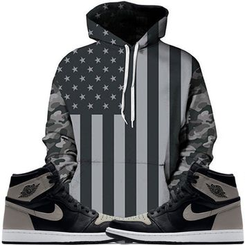 Jordan 1 Shadow Grey Hoodie - USA Flag