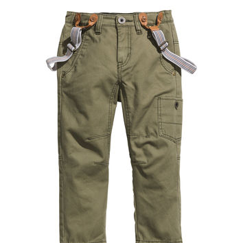 H&M - Chinos with Suspenders - Khaki green - Kids