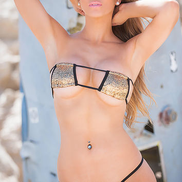 Matalic Gold 2 Piece Patch Bikini