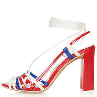 **TOPSHOP UNIQUE Patent Leather Skinny Strap Sandals - Red