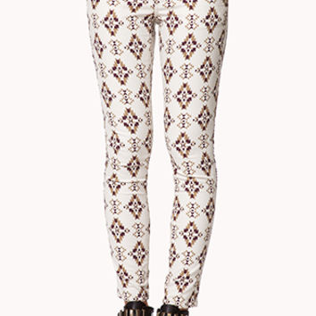 FOREVER 21 South Bound Skinny Jeans Cream/Wine