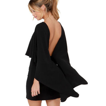 Sexy Women's Back Deep V Ponchos Hollow Out Solid Dress For Evening Party Night Clubwear Bodycon Vestido LX001