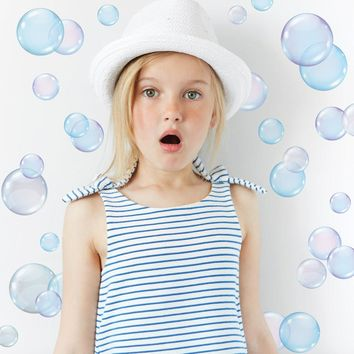 Wall Decals Bubbles Peel and Stick Eco-Friendly Removable and Reusable Fabric Wall Stickers