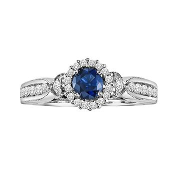 Cherish Always Diamond & Sapphire Engagement Ring in 10k White Gold (7/8 ct. T.W.)