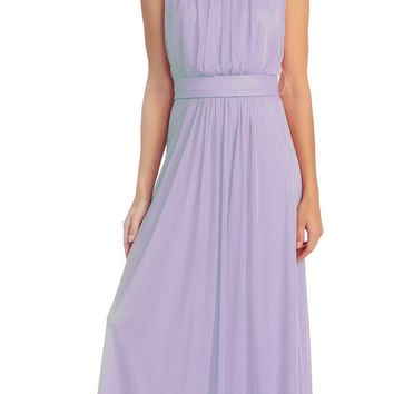 Semi Formal Long Lilac Dress Sleeveless Bateau Neck Chiffon